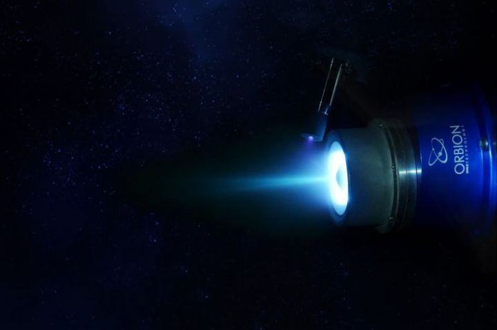 Courtesy of Orbion Space Technology  The Aurora plasma thruster by Orbion Space Technology operates using xenon gas as propellant.